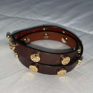Tory Burch brown leather wrap bracelet